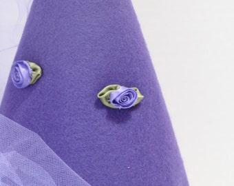 Princess Hat in Royal Purple Felt with Purple Satin Flowers and Satin Ribbon Trim