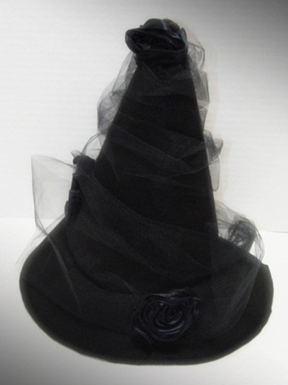 Elegant Black Witch Hat with Black Satin Rosettes and Black Tulle Trim