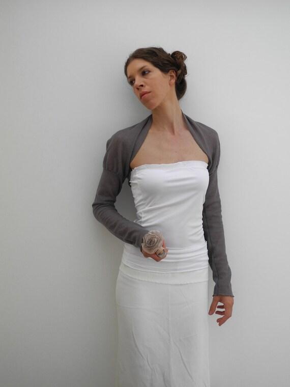 gray wool lace semi-sheer shrug neo victorian style, long sleeves
