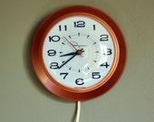Vintage Ingraham Metal Copper Wall Clock