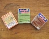 3 Polymer Clay Blocks Sculpey Brand, Gold, Moss, Chocolate