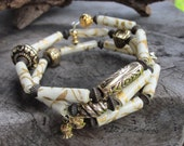 Hand Rolled Paper and Metal Bead Memory Wire Bracelet (3 strand)