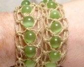 Double The Fun macrame lime green hemp bracelet/necklace