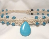 turquoise tear drop macrame  hemp necklace up to 60% off