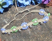 green apple hemp anklet with bells REDUCED