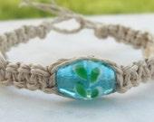 ocean blue beach babe natural hemp bracelet with shells LAST ONE
