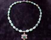 Peruvian Opal Necklace w\/ Flower charm