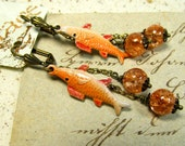 Catch of the Day  vintage fish charm earrings FREE Ship