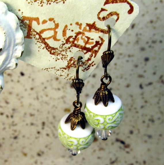 Vintage olive green bead earrings  Free Shipping