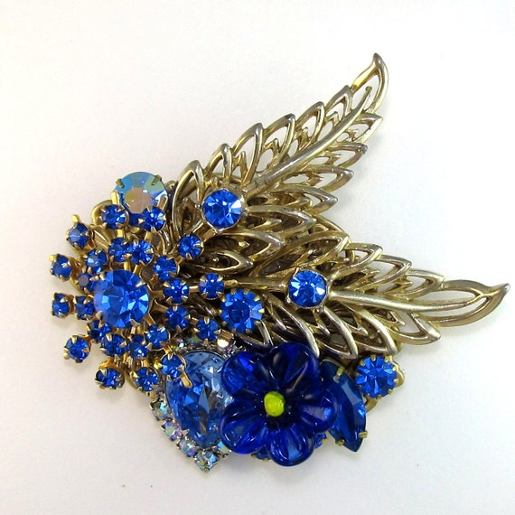 Rhinestone Brooch Vintage blue collage with brass sweeping leaves