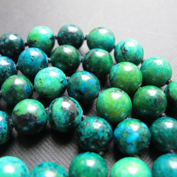 Northern Lights...Chrysocolla Hand Knotted Long Necklace
