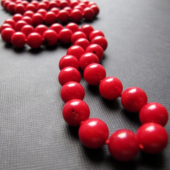 Madrid-Hand Knotted Red Bamboo Coral Necklace, Long Necklace
