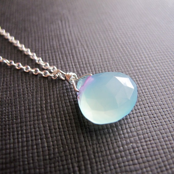 Pale Blue Chalcedony Sterling Silver Wire Wrapped Necklace...River