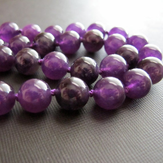 Grapes...Amethyst Hand Knotted Necklace Gift Under 50