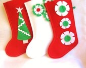 felt Christmas stocking decoration in white , green and red