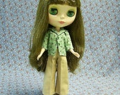 Cropped, pleated, khaki pants for Blythe
