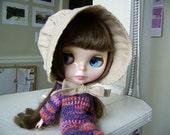 Commission: Blythe Prairie-style, Tea-dyed Bonnet for Joey.