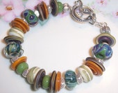 Earthy Lampwork Bead and Silver Bracelet