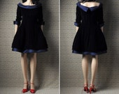 vintage cocktail party dress / blue velvet / holiday / pouf skirt / VICTOR COSTA / s