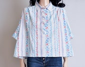 floral print cropped wide blouse / ascot / 70s / s / m