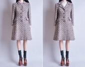 70s wool nubby tweed winter coat / s / m