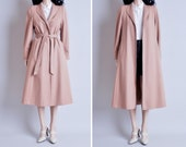 70s beige wool trench coat / belted / m