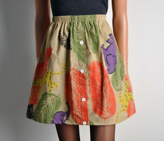 kingdom of the animals vintage safari print full skirt s m l