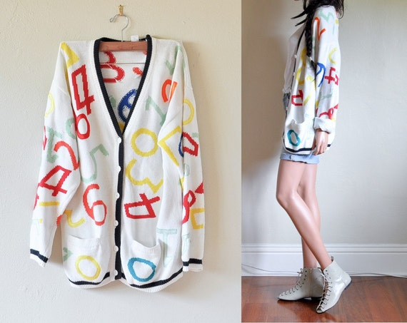 countless times vintage pop number print oversized boyfriend cardigan sweater s m