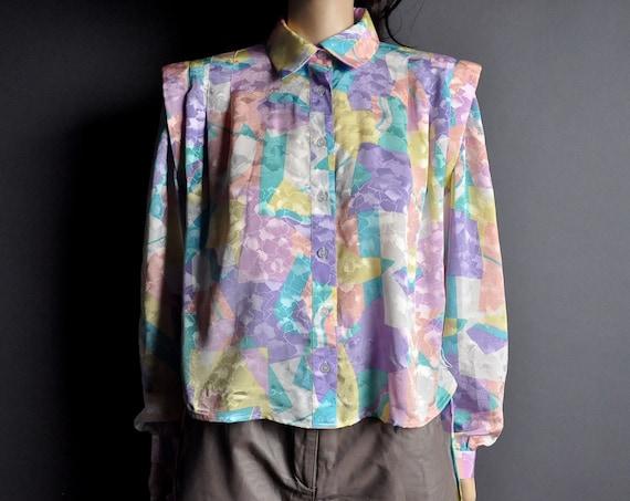 vintage 80s pastel geometric pleated slouch top blouse m l