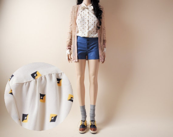 geometric print ascot blouse s/m/l
