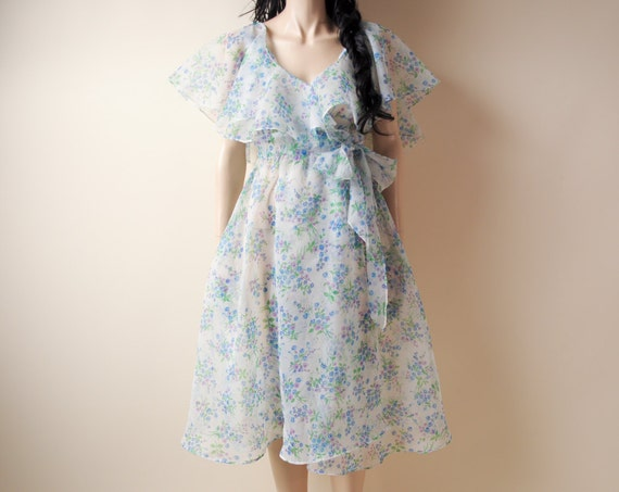 sheer floral ruffle wrap dress s by persephonevintage on etsy