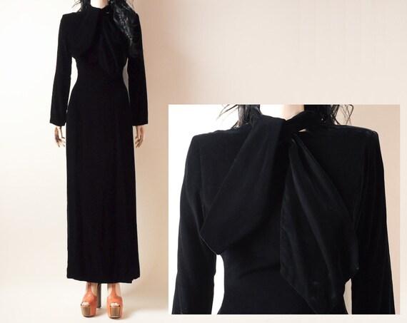 40s-style velvet ascot dress. 60s maxi dress. s