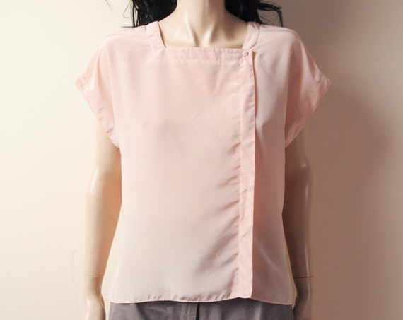 blush pink boxy square neck top s