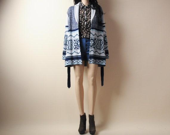 hippie TRIBAL print wrap cardigan sweater s/m
