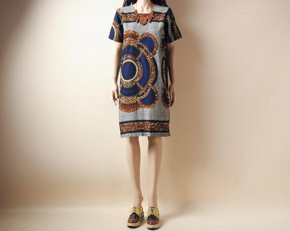 african print mini shift tunic dress s