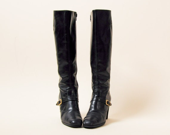 black buckle fitted boots knee high stacked heel 7