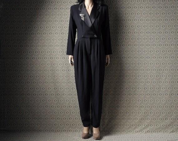 vintage black tuxedo jumpsuit / onesie / jacket / s / m