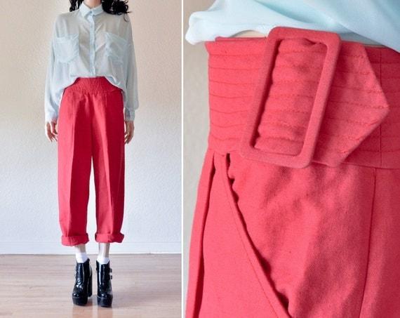 red high waist trousers / cummerbund waist / s