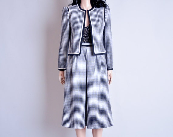LOUIS FERAUD houndstooth skirt suit / wool / puff slv / s