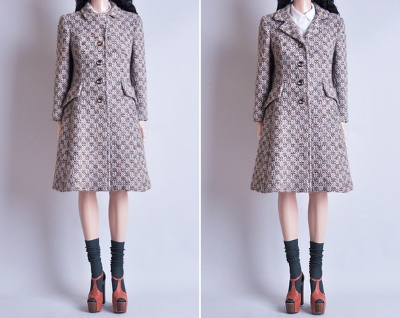 70s wool nubby tweed winter coat / s / m