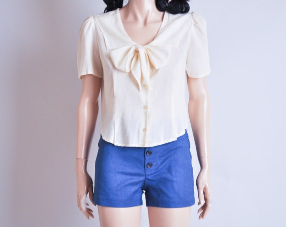 yellow cotton sailor ascot blouse / pussy bow / s / m