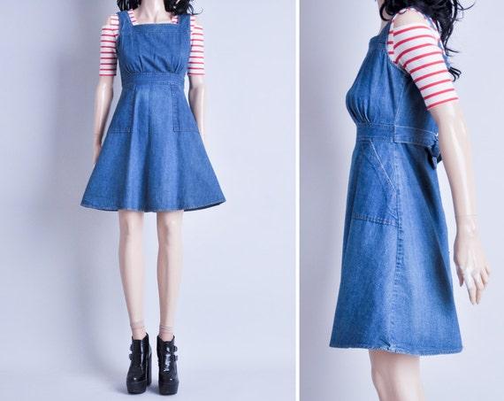 denim mini jumper dress / empire waist / s