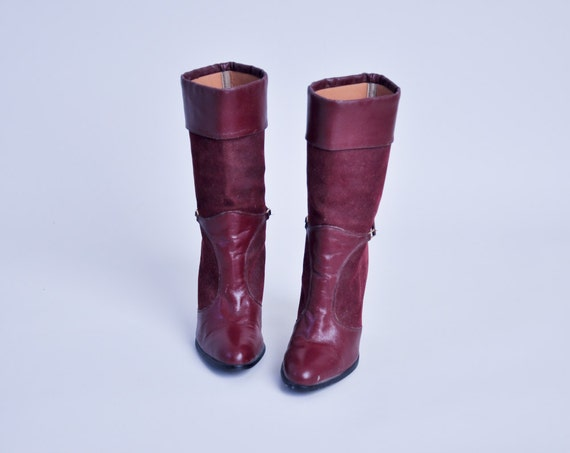 burgundy leather suede buckle boots / calf / 6