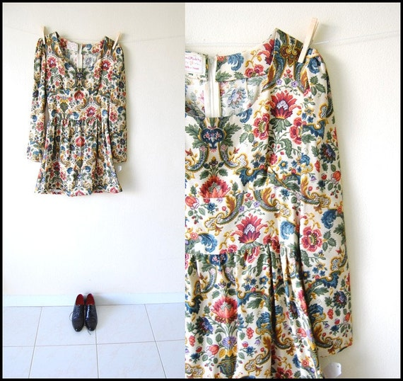 vintage 70s mod floral tapestry empire puff mini dress s