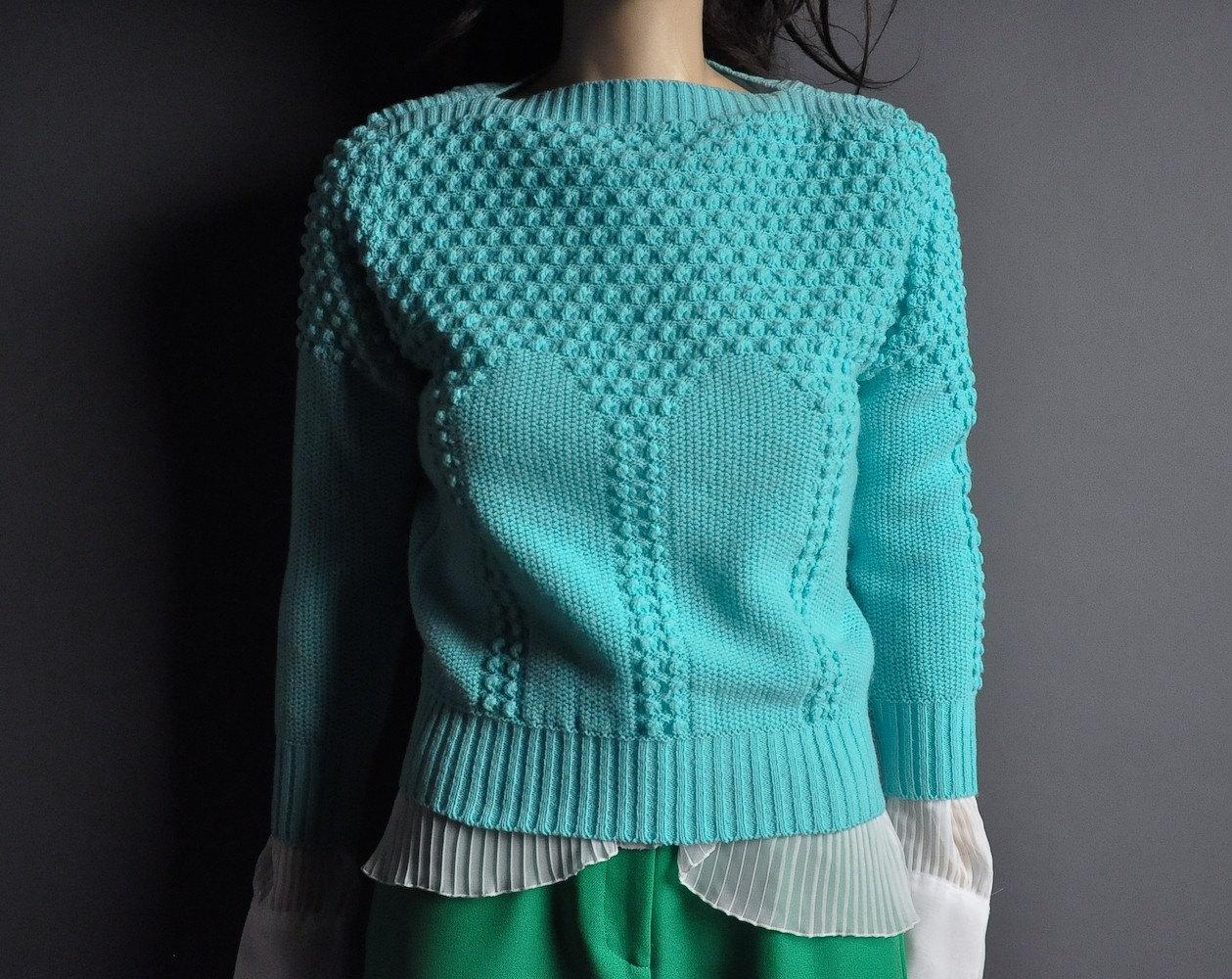 vintage 80s sky blue bobble tiny fit sweater by