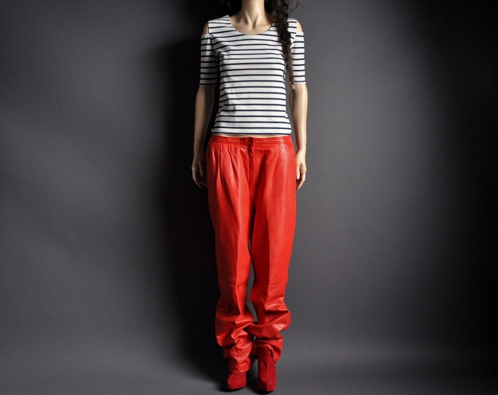red leather baggy trousers sml by persephonevintage on etsy