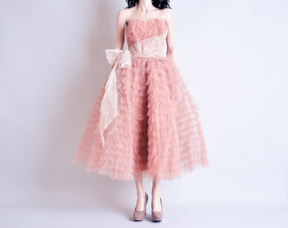 vintage 50s pink mesh ruffle dress / party / by persephonevintage