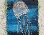 Jellyfish - fabric postcard