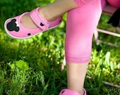 Hot Pink Minnie Mouse velcro hand painted maryjane shoes