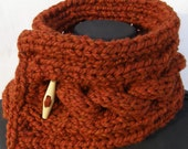 Dark Pumpkin OrangeCabled Wool Blend Scarfette with Wooden Toggle Button